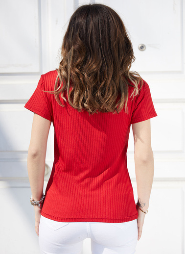 XHAN U Yaka Kaşkorse Bluz 9Kxk2-40654-04 Kırmızı